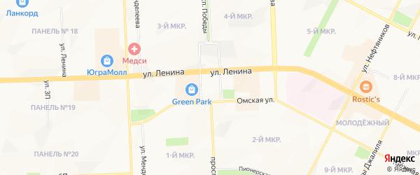 Садовое товарищество СОНТ Клубничка-1 на карте Нижневартовска с номерами домов