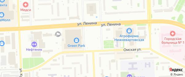 Томский переулок на карте Нижневартовска с номерами домов