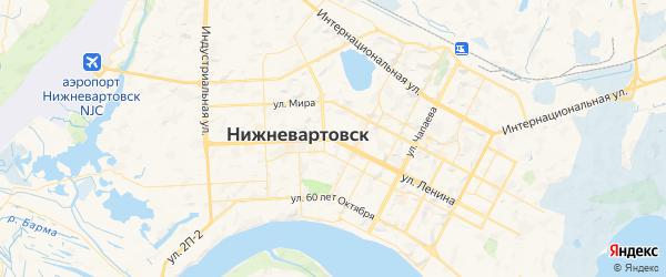 Карта Нижневартовска с районами, улицами и номерами домов