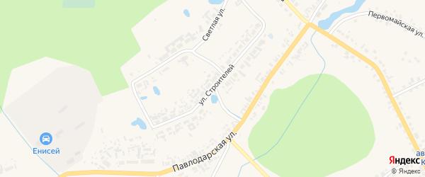 Улица Строителей на карте села Кыштовки Новосибирской области с номерами домов