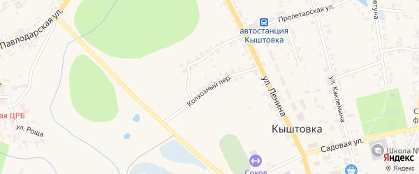 Колхозный переулок на карте села Кыштовки Новосибирской области с номерами домов