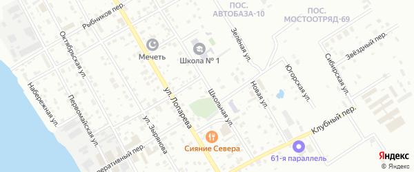 Школьная улица на карте Нижневартовска с номерами домов