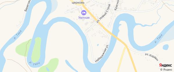 Набережная улица на карте села Кыштовки Новосибирской области с номерами домов