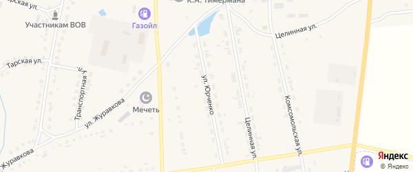 Улица Юрченко на карте села Кыштовки Новосибирской области с номерами домов