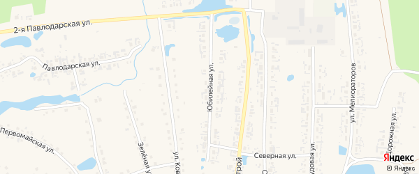 Юбилейная улица на карте села Кыштовки Новосибирской области с номерами домов