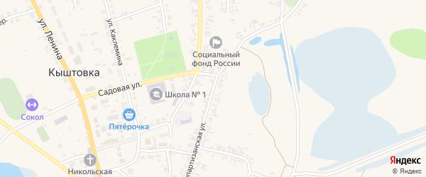Краснопартизанская улица на карте села Кыштовки Новосибирской области с номерами домов