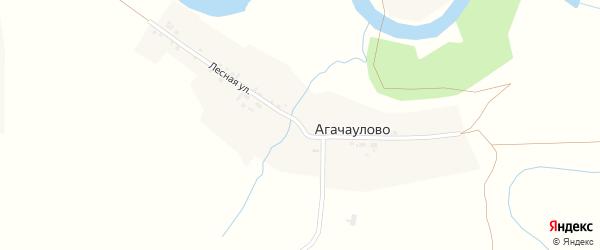 Лесная улица на карте деревни Агачаулово Новосибирской области с номерами домов