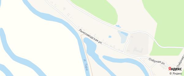 Льнозаводская улица на карте села Кыштовки Новосибирской области с номерами домов
