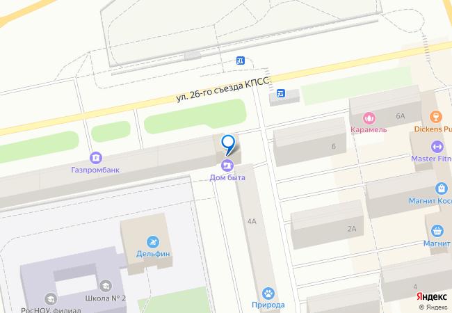 15f9d4b7f улица 26 Съезда КПСС, дом 4В на карте Нового Уренгоя подробно