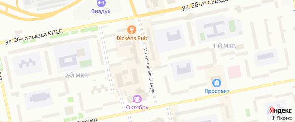 Интернациональная улица на карте Нового Уренгоя с номерами домов