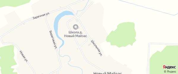 Школьная улица на карте деревни Нового Майзаса Новосибирской области с номерами домов