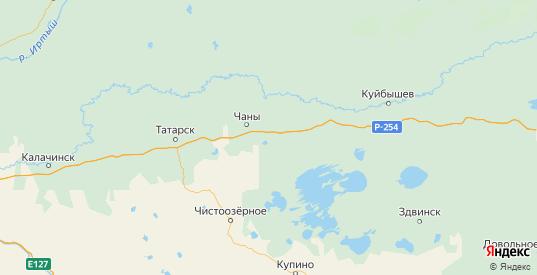 Карта Чановского района Новосибирской области с городами и населенными пунктами