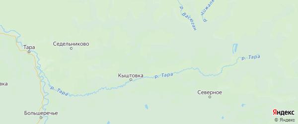 Карта Кыштовского района Новосибирской области с городами и населенными пунктами