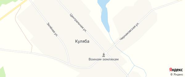 Центральная улица на карте деревни Куляба Новосибирской области с номерами домов