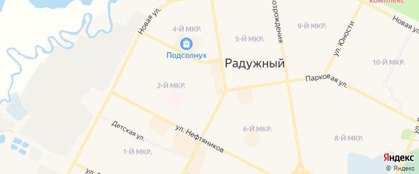 Карта промышленной зоны Северо-западная коммунальная зона города Радужного в Ханты-Мансийском автономном округе с улицами и номерами домов
