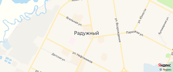Территория ОДНП Баклажан на карте Радужного с номерами домов
