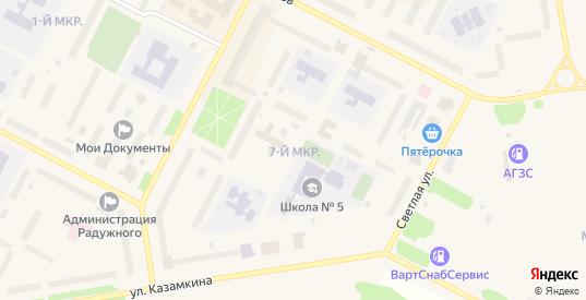 7-й микрорайон в Радужном с номерами домов на карте. Спутник и схема онлайн