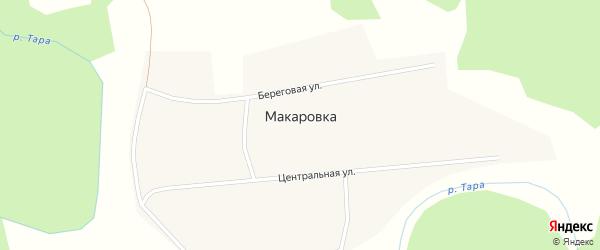 Зеленая улица на карте деревни Макаровки Новосибирской области с номерами домов