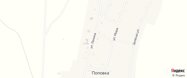 Улица Ленина на карте поселка Поповки Новосибирской области с номерами домов
