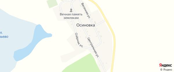 Центральная улица на карте поселка Осиновки Новосибирской области с номерами домов