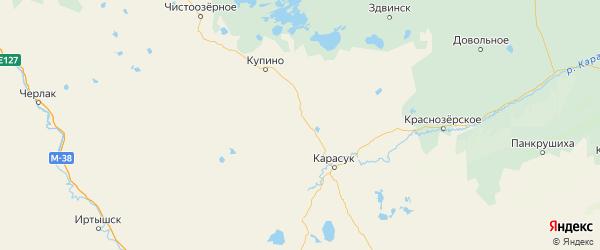 Карта Баганского района Новосибирской области с городами и населенными пунктами