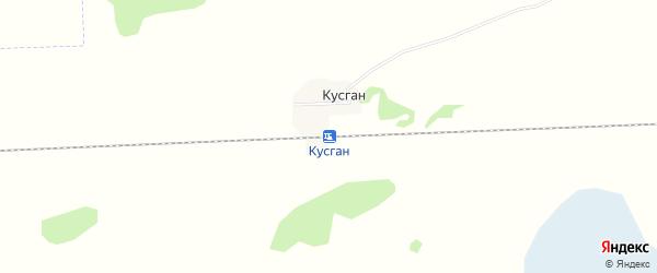 Карта железнодорожного разъезда Кусган в Новосибирской области с улицами и номерами домов