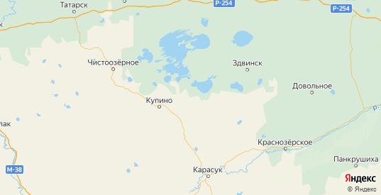 Карта Купинского района Новосибирской области с городами и населенными пунктами