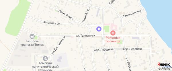 Улица Толпарова на карте Александровского села Томской области с номерами домов
