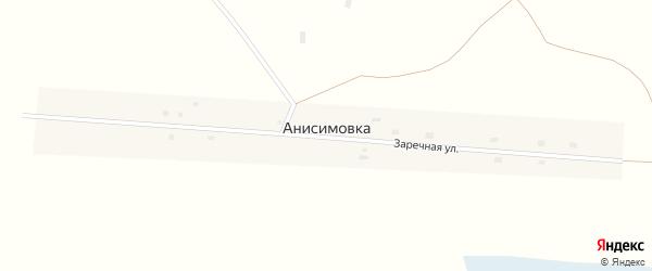 Заречная улица на карте села Анисимовки Новосибирской области с номерами домов
