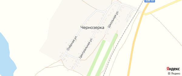Центральная улица на карте поселка Чернозерки Новосибирской области с номерами домов
