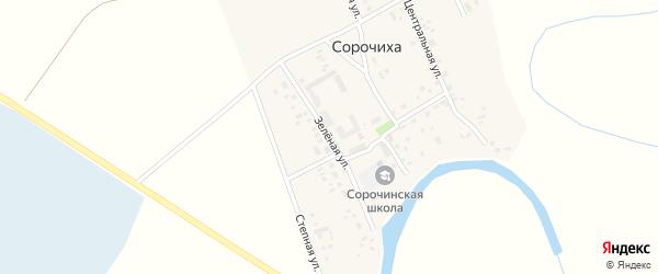 Зеленая улица на карте села Сорочихи Новосибирской области с номерами домов