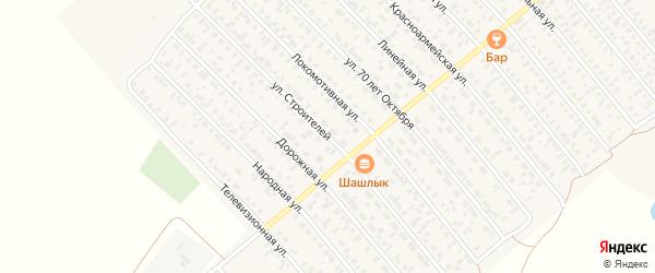 Улица Строителей на карте Карасука с номерами домов