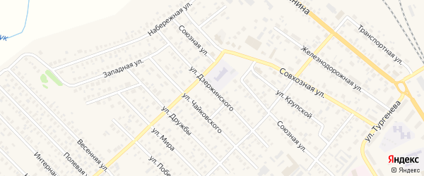 Улица Дзержинского на карте Карасука с номерами домов