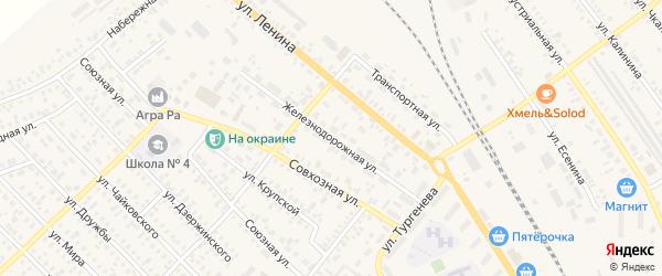 Железнодорожная улица на карте Карасука с номерами домов