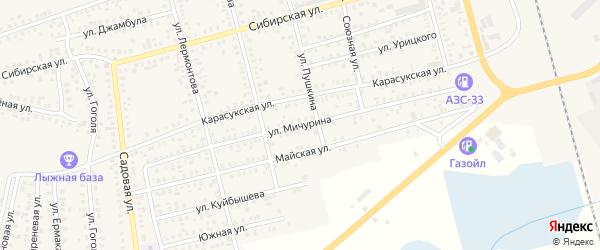 Улица Мичурина на карте Карасука с номерами домов