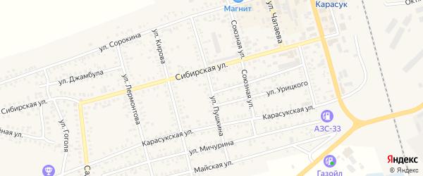 Улица Пушкина на карте Карасука с номерами домов