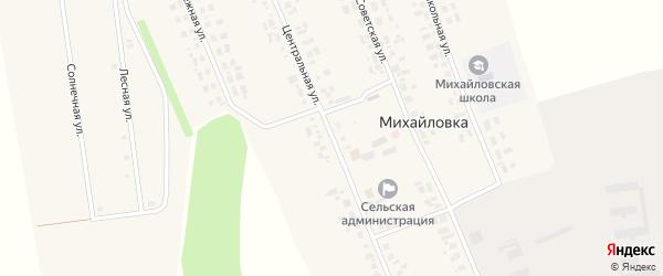 Центральная улица на карте села Михайловки Новосибирской области с номерами домов