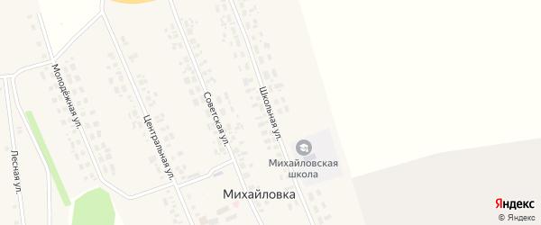Школьная улица на карте села Михайловки Новосибирской области с номерами домов