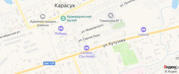 Улица Сергея Лазо на карте Карасука с номерами домов
