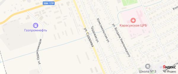 Улица Сударева на карте Карасука с номерами домов