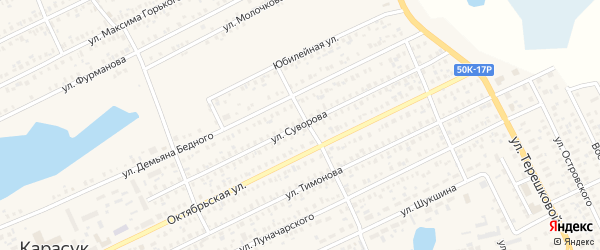 Улица Суворова на карте Карасука с номерами домов