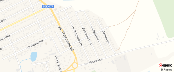 Восточная улица на карте Карасука с номерами домов