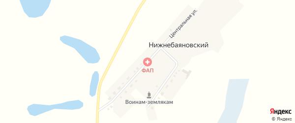 Центральная улица на карте Нижнебаяновского аула Новосибирской области с номерами домов