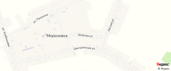 Зеленая улица на карте села Морозовки Новосибирской области с номерами домов