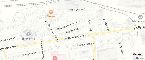 Садовая улица на карте Барабинска с номерами домов