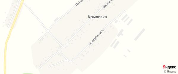 Молодежная улица на карте поселка Крыловки Новосибирской области с номерами домов