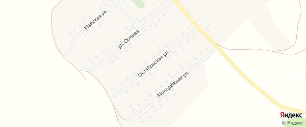 Октябрьская улица на карте села Калиновки Новосибирской области с номерами домов