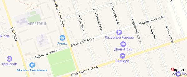 Барнаульская улица на карте Ярового с номерами домов
