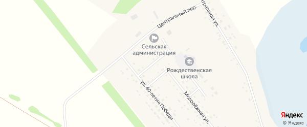 Переулок Автушенко на карте Рождественского поселка Новосибирской области с номерами домов
