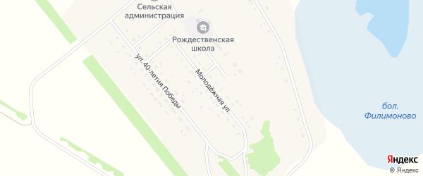 Молодежная улица на карте Рождественского поселка Новосибирской области с номерами домов